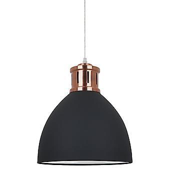 Graphite pendentif suspendu industriel et rétro, lumière rouge de cuivre 1 avec l'ombre de graphite, E27