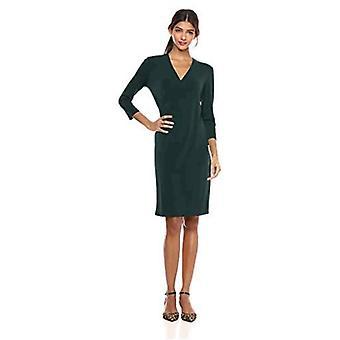 Brand - Lark & Ro Women's Crepe Knit Faux Wrap Dress