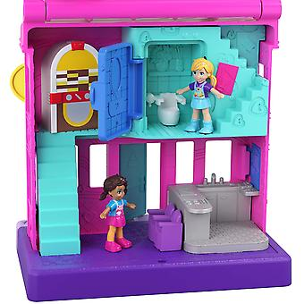 Polly pocket ggc30 pollyville diner with 4 floors, 2 dolls and 5 accessories, multi-colour fun centr