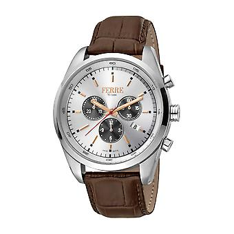 Ferre Milano Men's Silver Dial Brown Leather Watch