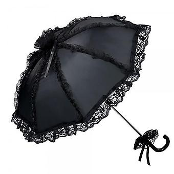 Outdoor Party Men's Gothic Lace Umbrella Wedding Sun Lolita (zwart)