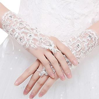 Elegant Short White Lace Rhinestone Women's Fingerless Wedding Gloves (beżowy)