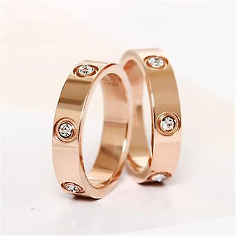 Trendy Stainless Steel Ring Men Couple Crystal Luxury Brand Jewelry Wedding