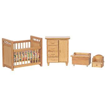 Dolls House Light Oak Lastenhuoneet Setti Miniatyyri Vauvahuone 1:12 Asteikko