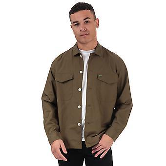 Homme's Tommy Hilfiger Military Style Pure Cotton Shirt en Vert