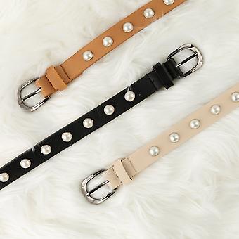 Leather Pearl Waist Belt