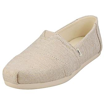 Toms Alpargata Woven Womens Slip On Shoes in Natural Metallic