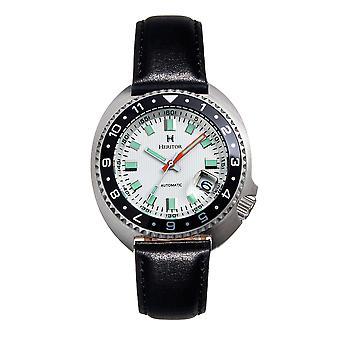 Heritor Automatic Pierce Genuine Leather-Band Watch w/Date - White/Black