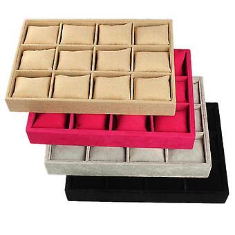 KINGSO 12 kolikkopelit Luxury Flannel Watch Box Korut Näyttö Kokoelma Säilytys B