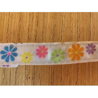 Leash/ Small/ White & Blue & Orange & Purple Flowers