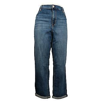 Chaps Women's Jeans Slim Boyfriend Rolled Hem 5-Pocket Blue