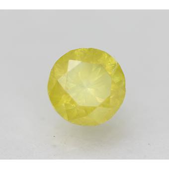 Cert 0.47 Carat Canary Yellow SI2 Round Brilliant Enhanced Natural Diamond 4.76m