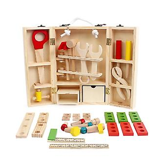 Wooden Pretend Play Toolbox Accessories Set Educational Multifunctional Toy (no