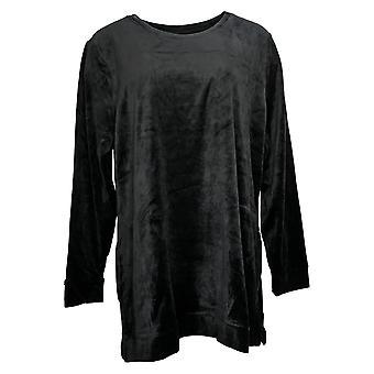 Denim & Co. Women's Top Regular Velour Tunic W/ Pockets Black A399179