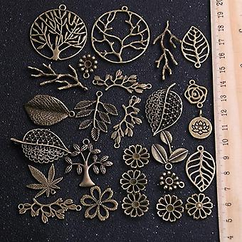 Vintage Metal Antique Bronze Charms Plant Pendant For Jewelry