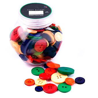 LAST FEW - 120g Mixed Size and Shade Button Tubs for Crafts - Primary Colours