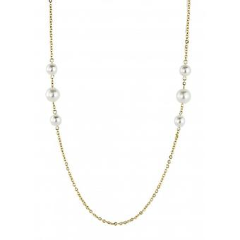 Traveller Necklace Gold Plated Swarovski Pearls 90cm  - 114214 - 844
