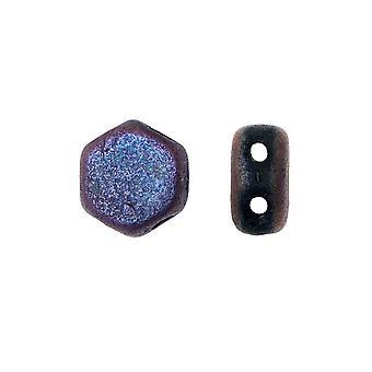 Czech Glass Honeycomb Beads, 2-Hole Hexagon 6mm, 30 Pieces, Etched Jet Full Sliperit