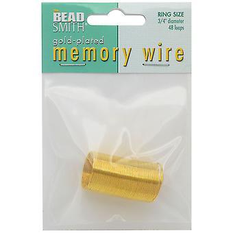ذاكرة سلك، حلقة جولة قطرها 0.75 بوصة، 48 حلقات، مطلي بالذهب