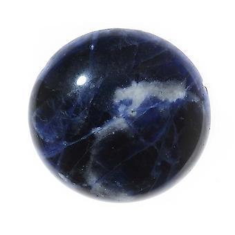 אבן חן סודליט כחולה עגולה שטוחה גב Cabochon 25mm (1 חתיכה)