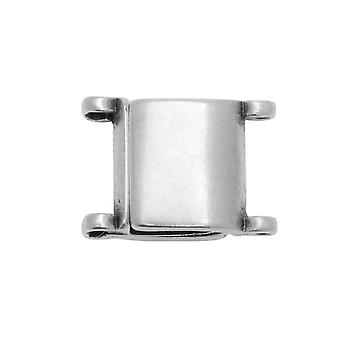 Platillos Magnéticos Para 11/0 Delica &Round Beads, Axos, Cuadrado 13x9.5mm, Plata Antigua Plateada