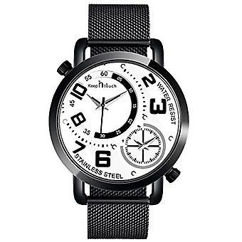 SUPBRO Ultra thin men's watches with minimalist black quartz with black mesh strap(12)
