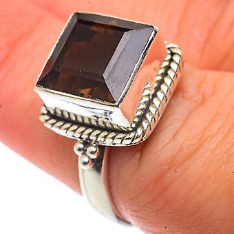 Smoky Quartz Ring Size 7 (925 Sterling Silver)  - Handmade Boho Vintage Jewelry RING66582