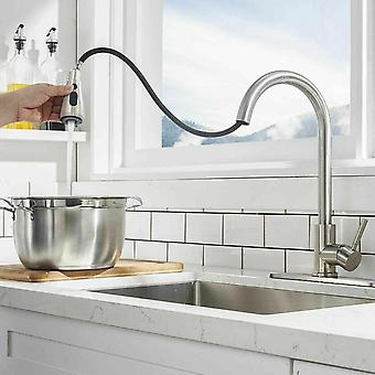 Kitchen Faucet With Single Stainless Steel Handle