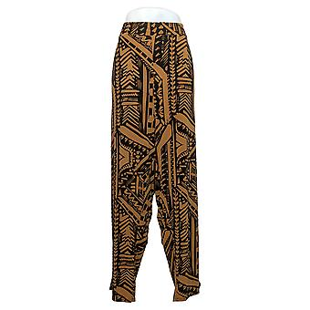IMAN Global Chic Women's Plus Pants Printed Ankle Pant Brown 742656
