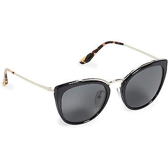 Prada Conceptual PR 20US 1AB5S0 Pale Gold Black Plastic Cat-Eye Grey Sunglasses