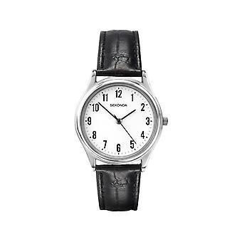 Sekonda 3621 Zilveren En Zwart Lederen Classic Herenhorloge