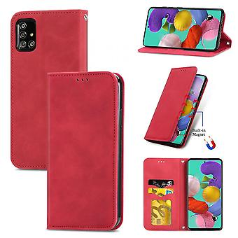 Case For Samsung Galaxy A51 5g Magnetic Closure Leather Wallet Cover Housse Etui Shockproof - Red
