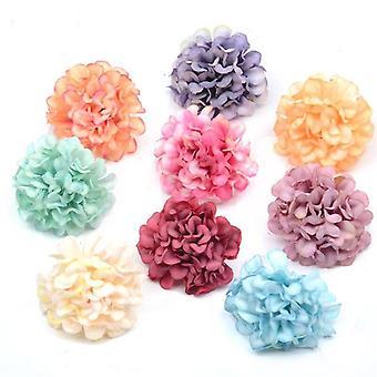 100Pcs/lot silk hydrangea artificial flower heads for wedding christmas decoration diy wreath scrapbooking craft fake flowers