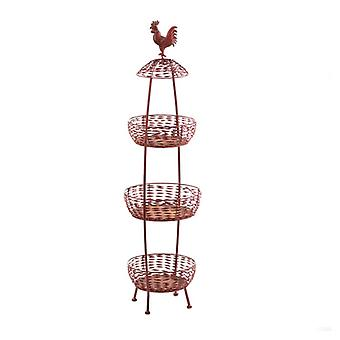 Accent Plus Red Rooster Metal 3-Tier Basket Stand, Pack of 1