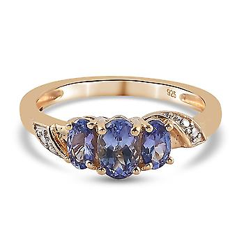 TJC Tanzanite Engagement Three Stone Ring for Women Gold Plated Silver 1.99ct(N)