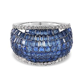Lustro Stella Blue Cubic Zirconia Dome Ring in Silver Anniversary Gift 3.66ct(O)