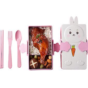 Récipients de déjeuner pour des enfants avec la cuillère et la fourchette, à l'épreuve des fuites, lave-vaisselle à micro-ondes