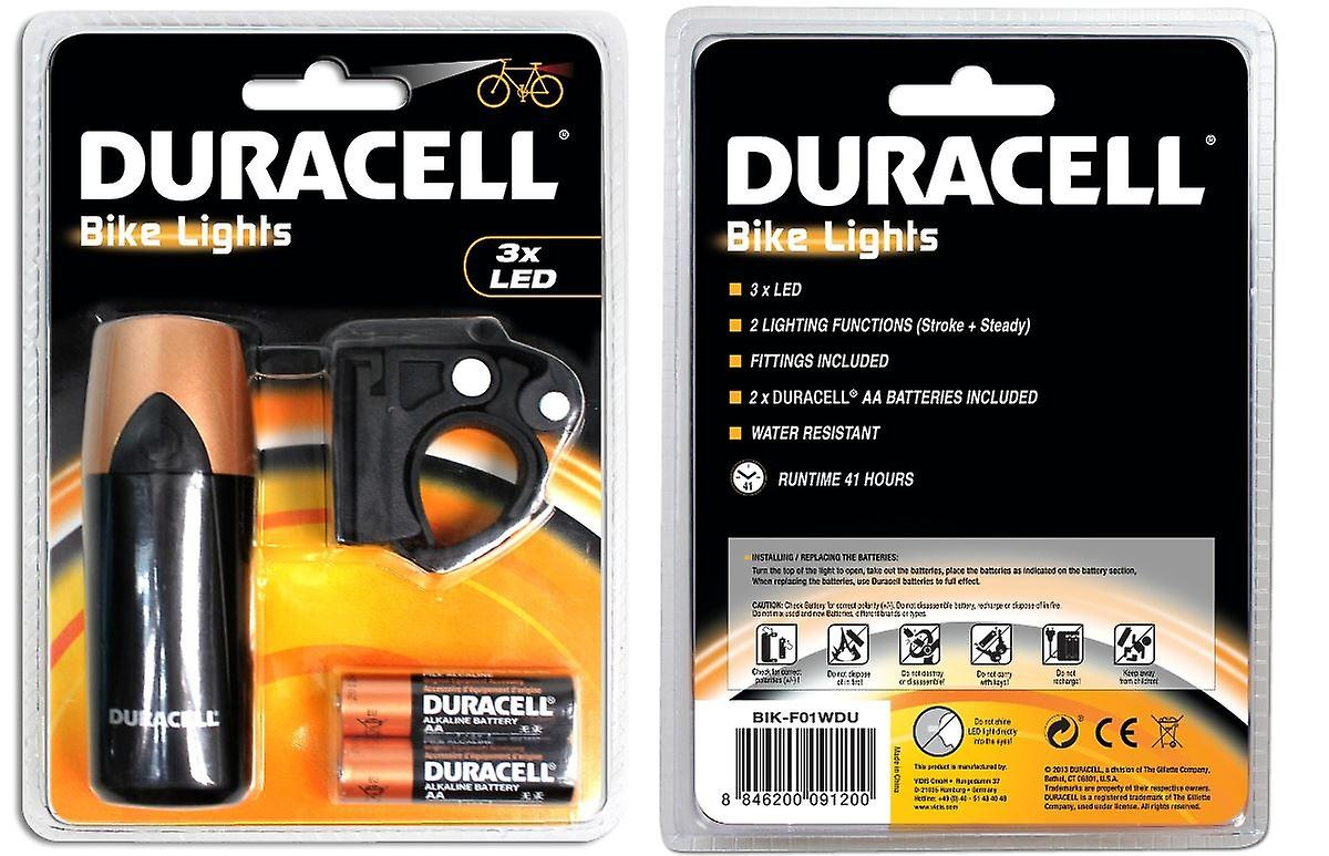 3 LED Bicycle Head Front Light Duracell Mountain Bike Cycling Lamp Water Resistant
