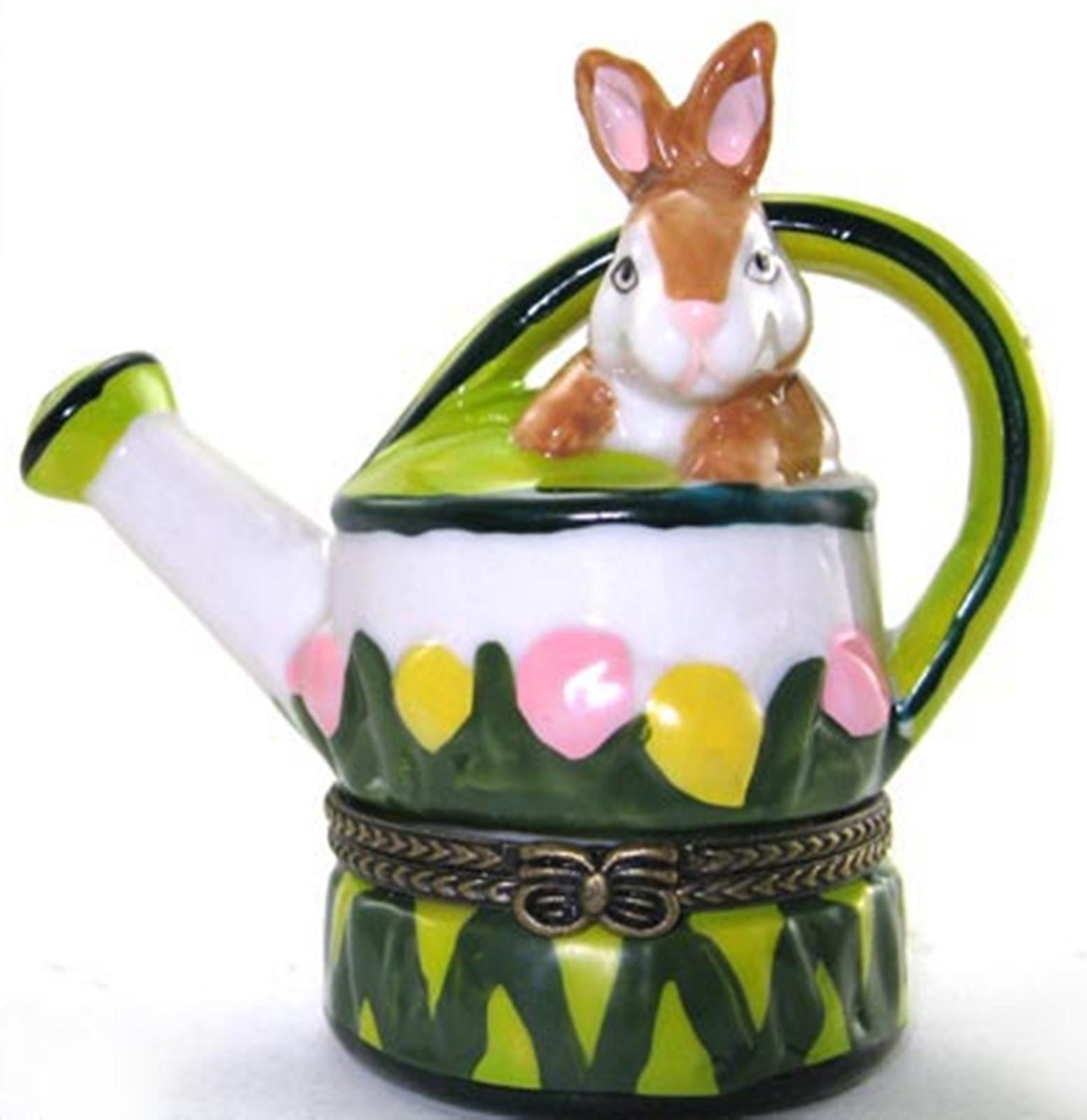 Bunny Garden Watering Can Hinged Trinket Box phb
