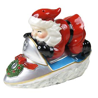 Santa Riding Snowmobile Holiday Salt and Pepper Shakers