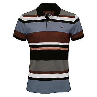 Gant Multi-Stripe Pique Rugger Polo Shirt, Evening Blue
