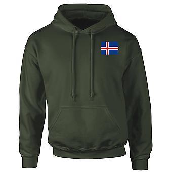 Islannin lippu brodeerattu Logo - huppari Huppari