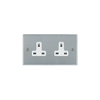 Hamilton Litestat Hartland Satin Chrome 2g 13A Unswitched Socket WH