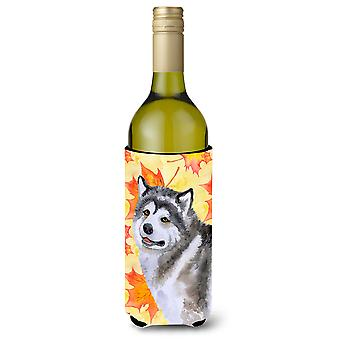 Alaskan Malamute Fall Wine Bottle Beverge Insulator Hugger