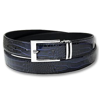 Biagio Croc Embossed Men's Bonded Leather Belt Silver-Tone Buckle
