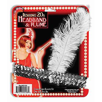 Charleston Flapper 20s Silver Sequin Feathers Womens Costume Headband Headpiece