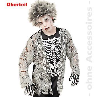 Zombie kostume skelet skjorte horror dreng af udøde Halloween teen kostume