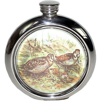 6Oz Round Woodcock Pewter Picture Flask