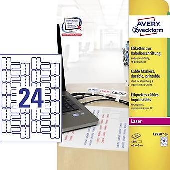 Avery-Zweckform L7950-20 etiketten 60 x 40 mm Polyester film wit 480 PC('s) permanente kabel-Laser-ID 's