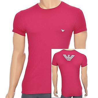 Emporio Armani Eagle стрейч хлопок круглый вырез футболки, Ruby, малые